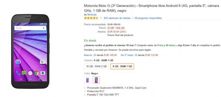 Imagen - Moto G 2015 en oferta por solo 149 euros