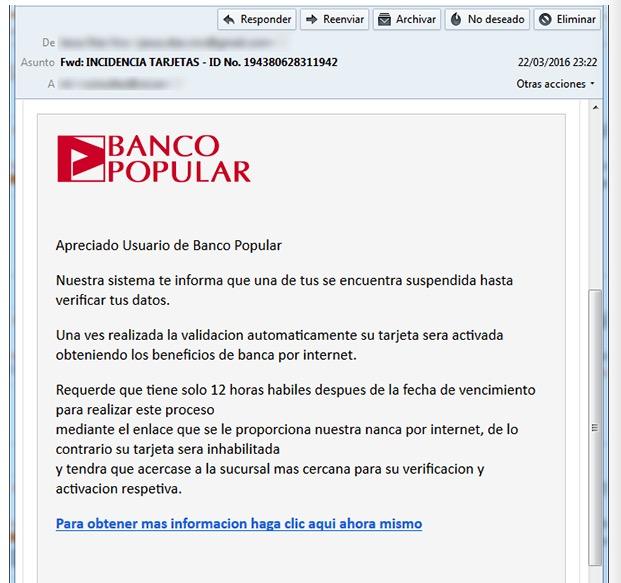 Imagen - Un nuevo phishing afecta a los clientes de Banco Popular