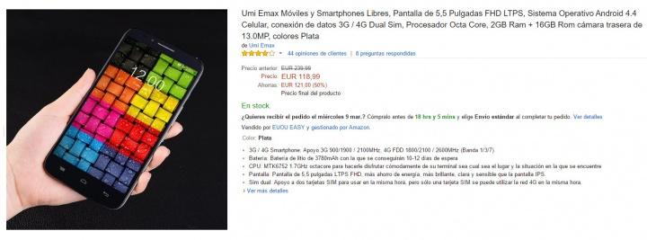 Imagen - Oferta: UMI eMAX, 50% de descuento en este smartphone en Amazon