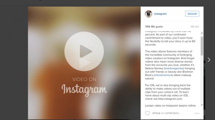 Imagen - Instagram permitirá subir vídeos de 60 segundos