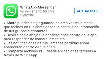 Imagen - Descarga WhatsApp 2.12.16 para iPhone con interesantes novedades