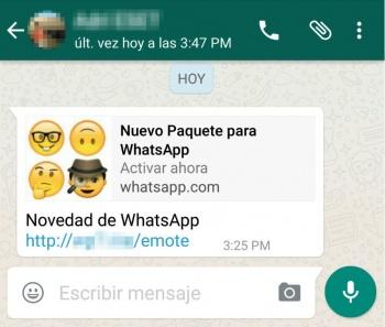 """Imagen - """"Nuevo paquete para WhatsApp"""", otra estafa de emojis para WhatsApp"""
