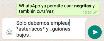 Imagen - WhatsApp ya permite cursivas y negritas