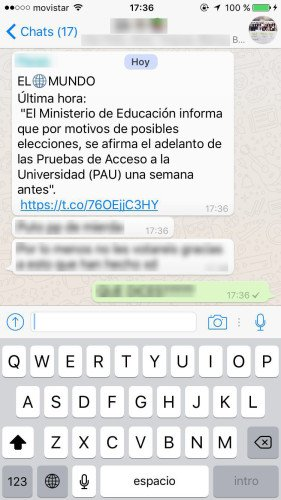 Imagen - Un bulo en WhatsApp avisa de que la PAU se adelanta