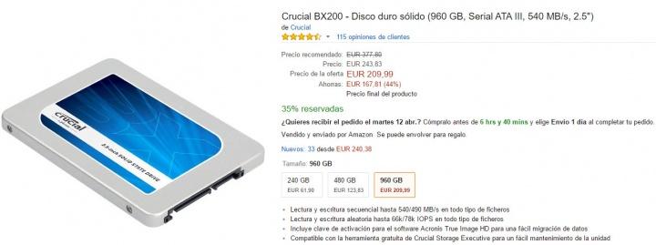 Imagen - Oferta: Crucial BX200, un SSD de 960 GB por solo 210 euros