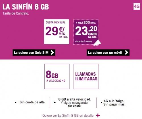 Imagen - La tarifa Sinfín de Yoigo se reduce a 8 GB