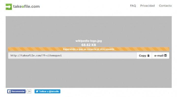 Imagen - Takeafile, envía archivos grandes de forma directa y anónima