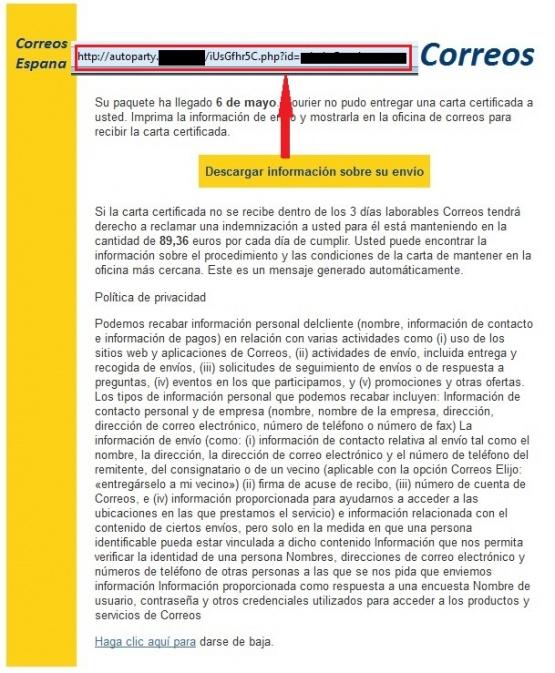 Imagen - Falsos emails de Correos propagan el ransomware Locky