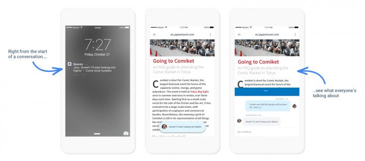 Imagen - Google Spaces, el nuevo servicio para competir con Facebook y WhatsApp
