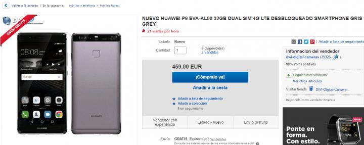 Imagen - Oferta: Huawei P9 por 459 euros ¡140 euros de descuento!
