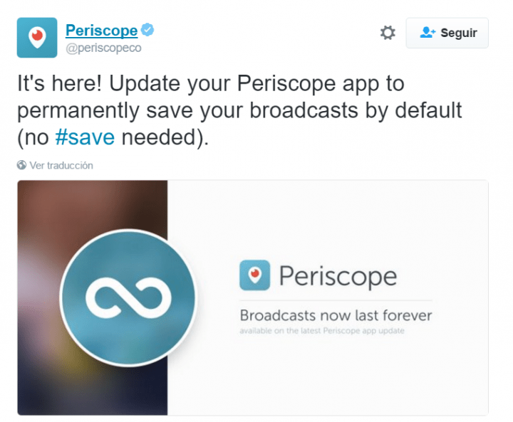 Imagen - Ya puedes guardar emisiones para siempre en Periscope