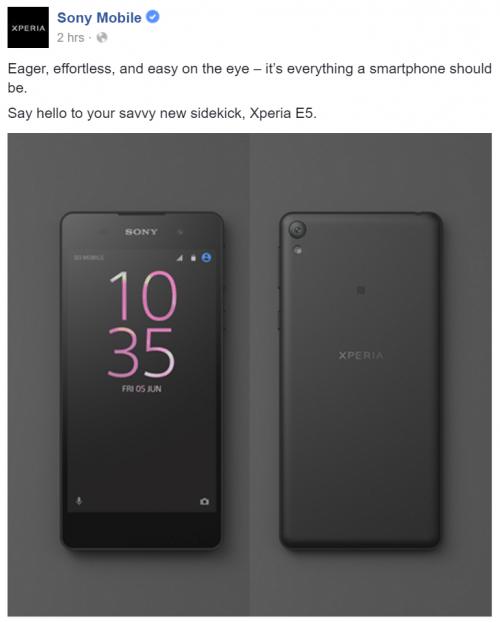 Imagen - Sony Xperia E5 confirmado en una filtración: aquí su foto