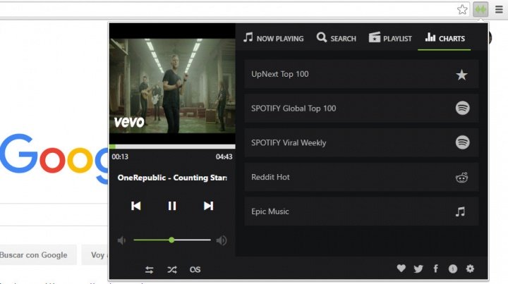 Imagen - UpNext Music Player, un Spotify para Chrome