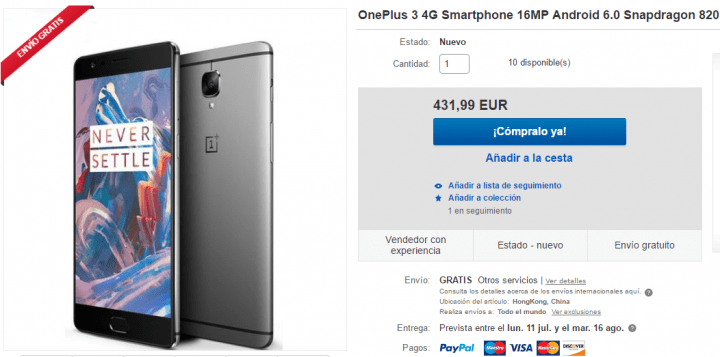 ONE PLUS 3 COMPRAR AMAZON