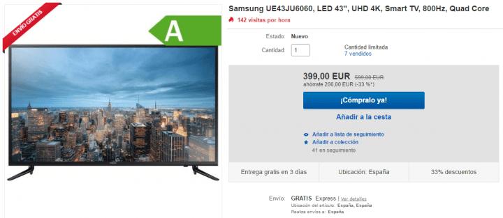 Imagen - Oferta: televisor Samsung 4K de 43 pulgadas por solo 399 euros