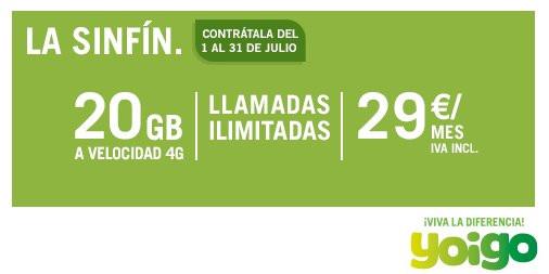 Imagen - Vuelve la tarifa Sinfín a Yoigo con 20 GB por 29 euros