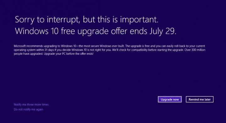 Imagen - La actualización KB3173040 informa sobre el fin de la actualización a Windows 10