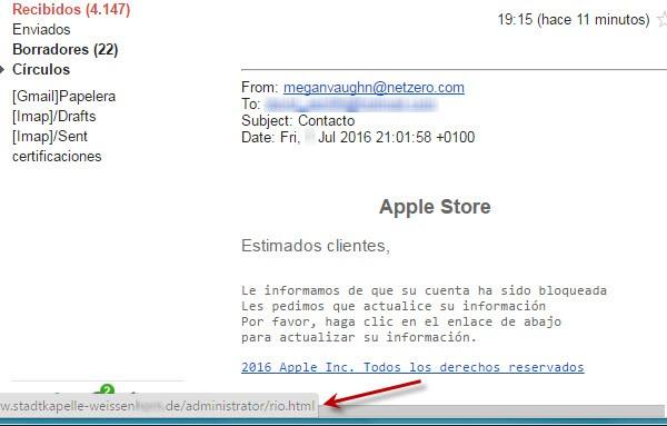 Imagen - Falsos correos en nombre de Apple aseguran el bloqueo de tu cuenta