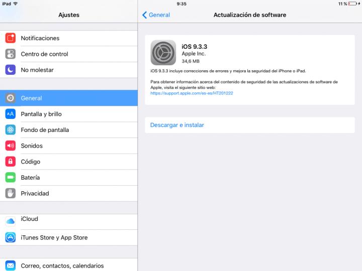 Imagen - iOS 9.3.3 llega con importantes correcciones