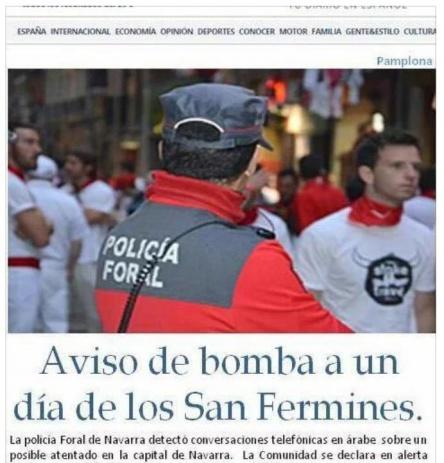 Imagen - Se extiende por WhatsApp una amenaza de bomba en Sanfermines