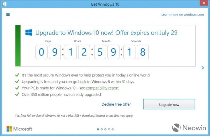 Imagen - El aviso de actualización a Windows 10 ahora muestra una cuenta atrás