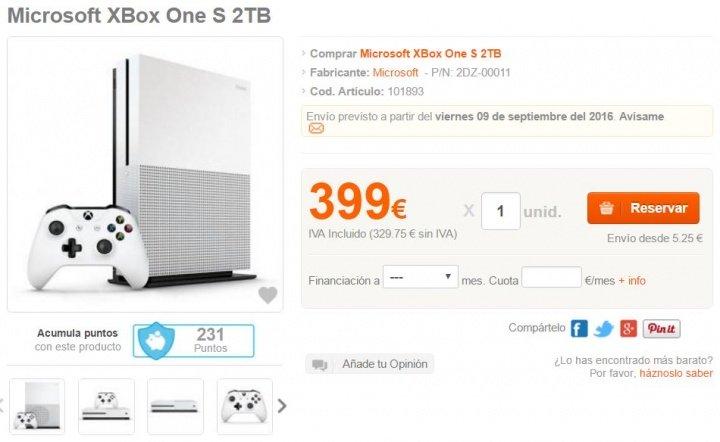 Imagen - Xbox One S de 2 TB costaría 399 euros en España