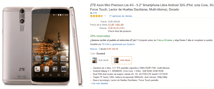 Imagen - Oferta: ZTE Axon Mini Premium por 100 euros menos