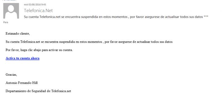 Imagen - Cuidado con el falso email de Telefónica