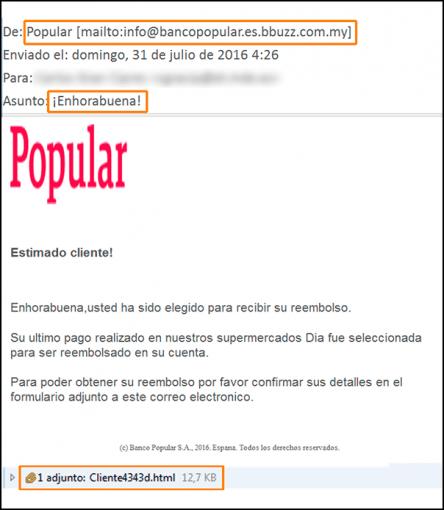 Imagen - Nueva oleada de correos falsos de Banco Popular