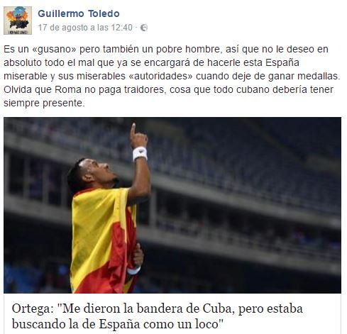 """Imagen - Willy Toledo es expulsado de Facebook por """"cagarse"""" en la medalla de Ortega"""
