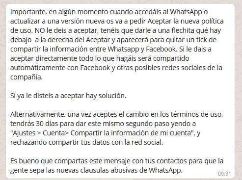 Imagen - Una cadena de WhatsApp advierte la nueva política de uso