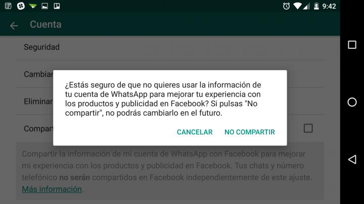 Imagen - Cómo evitar que WhatsApp comparta tus datos con Facebook