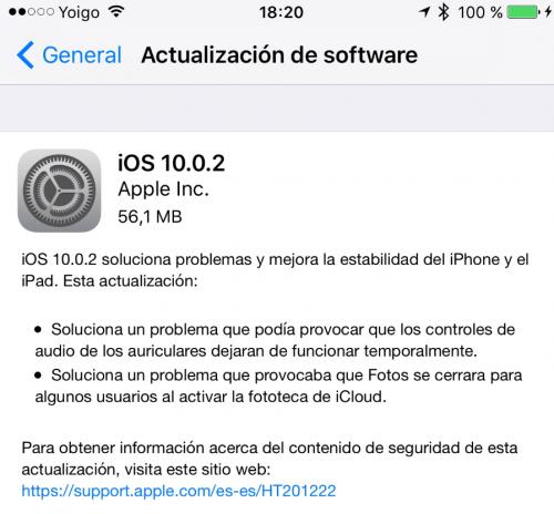 Imagen - iOS 10.0.2 ya está disponible para descargar