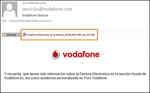 Imagen - Falso correo de Vodafone adjunta malware