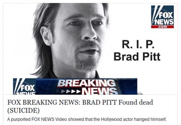 """Imagen - """"La muerte de Brad Pitt"""", el nuevo gancho para infectarte con malware"""