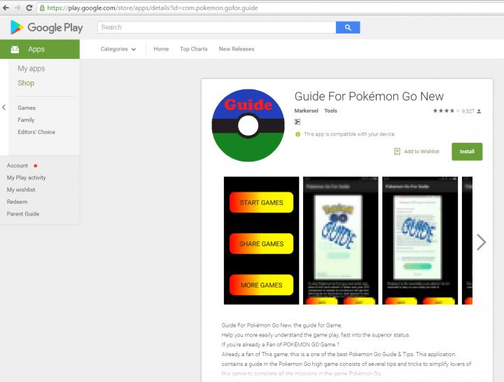 """Imagen - """"Guía Pokémon Go"""", la app maliciosa se cuela en Google Play"""