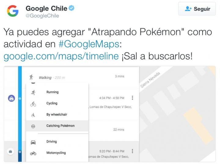 """Imagen - Google Maps ya permite agregar """"atrapando Pokémon"""" como actividad"""