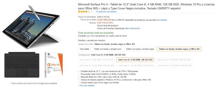 Imagen - Oferta: Microsoft Surface Pro 4 con teclado y Office 365 por 999 euros