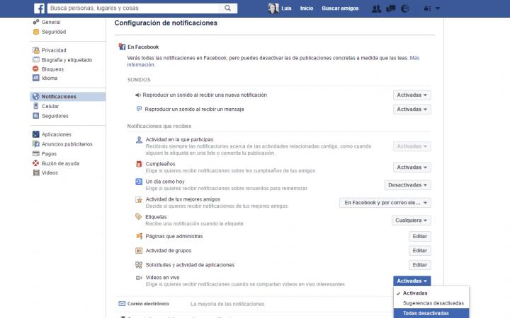 Imagen - Desactiva las notificaciones de vídeo en directo de Facebook