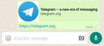 Imagen - WhatsApp vuelve a permitir poner enlaces de Telegram