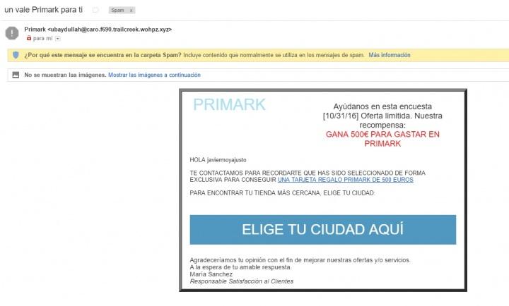 Imagen - Cuidado con los correos con un cheque regalo de Primark