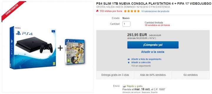 Imagen - Oferta: PlayStation 4 Slim 1 TB con FIFA 17 por 294 euros