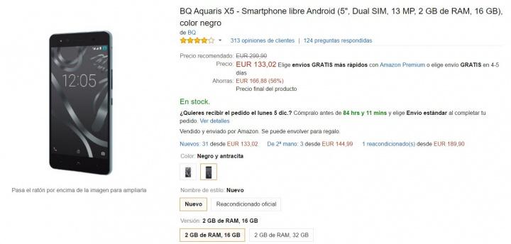 Imagen - Oferta: BQ Aquaris X5 desde 133,02 euros en Black Friday