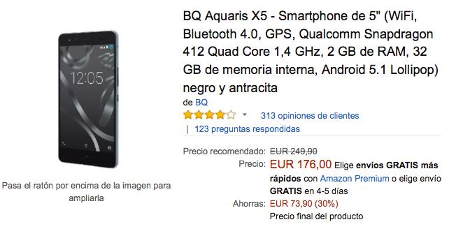 Imagen - Oferta: BQ Aquaris X5 por 176 euros en Black Friday