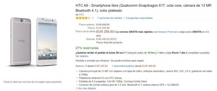 Imagen - Oferta: HTC A9 por tan solo 259 euros en Black Friday