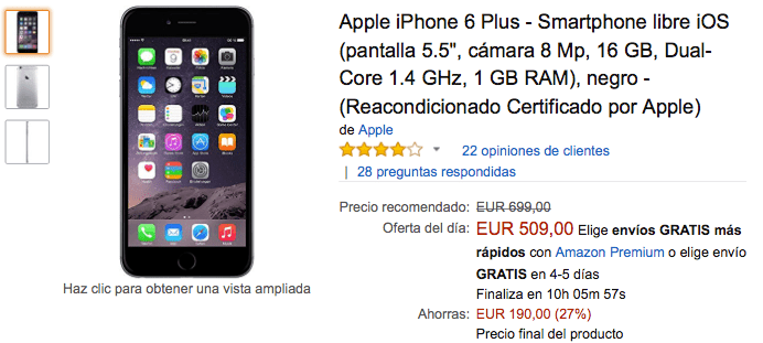Imagen - Oferta: iPhone 6 Plus por solo 509 euros en Black Friday