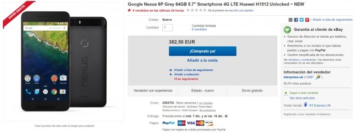 Imagen - Oferta: Nexus 6P de 64 GB por tan solo 382,50 euros en Black Friday
