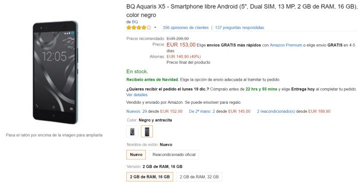 Imagen - Oferta: BQ Aquaris X5 por tan solo 153 euros en Amazon