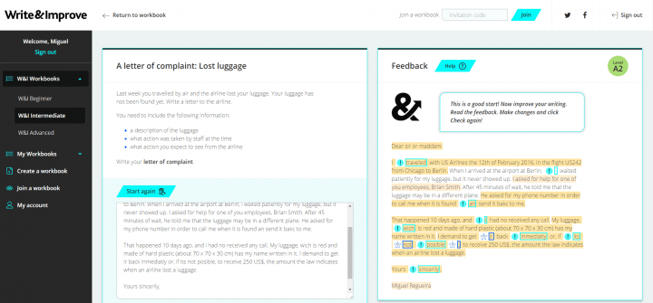 Imagen - Write & Improve de Cambridge English, mejora online tu escritura en inglés
