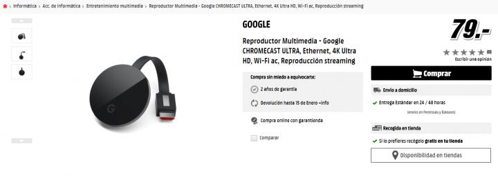 Imagen - 4 tiendas dónde comprar el Chromecast Ultra